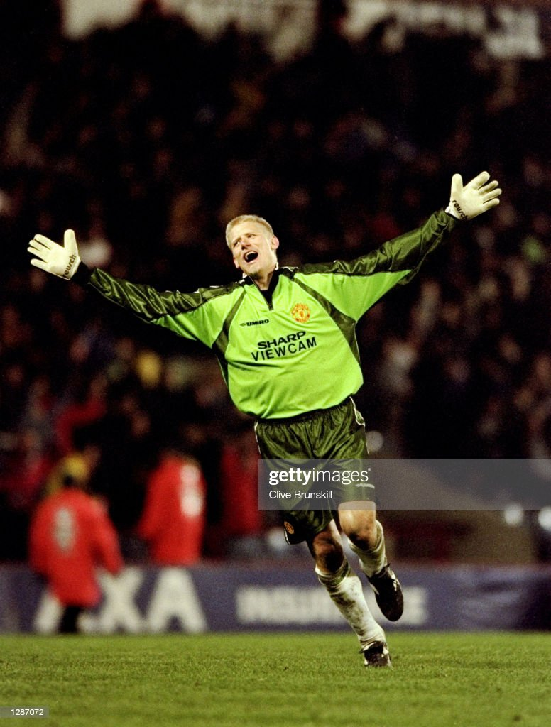 Manchester United keeper Peter Schmeichel celebrates a goal in the FA Cup semi-final replay against Arsenal at Villa Park in Birmingham, England. Schmeichel saved a crucial penalty as United won 2-1 after extra-time. \ Mandatory Credit: Clive Brunskill /Allsport
