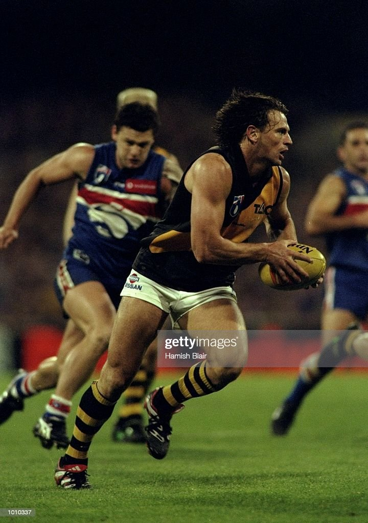 Nick Daffy of the Richmond Tigers in action during the AFL Premiership Round 5 match against the Western Bulldogs at the MCG, Melbourne, Australia. The game finished with Wests (143) defeating Richmond (81). \ Mandatory Credit: Hamish Blair/Allsport