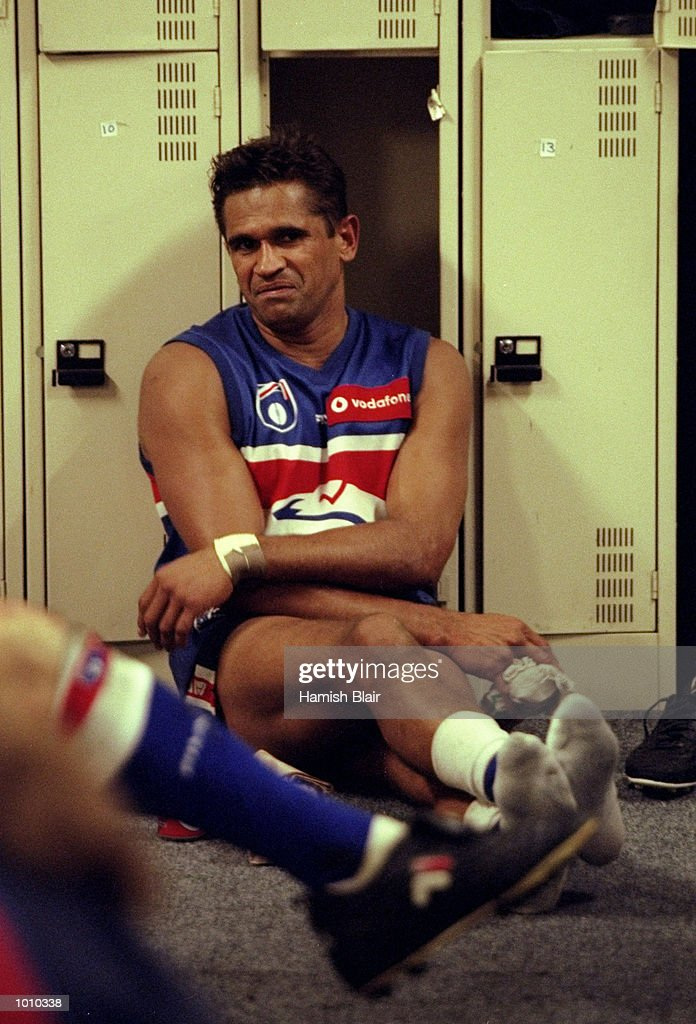 Nicky Winmar of the Western Bulldogs in the changing rooms after the AFL Premiership Round 5 match against the Richmond Tigers at the MCG, Melbourne, Australia. The game finished with Wests (143) defeating Richmond (81). \ Mandatory Credit:Hamish Blair /Allsport