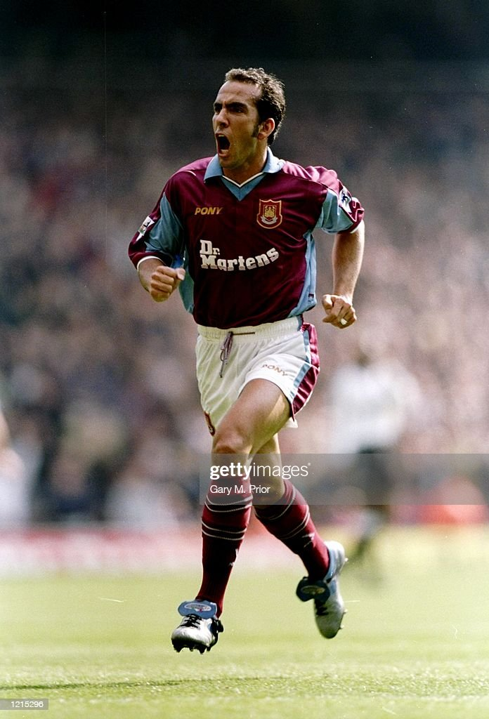 Paolo Di Canio of West Ham United celebrates his goal in the FA Carling Premiership match against Derby County at Upton Park in London West Ham won...