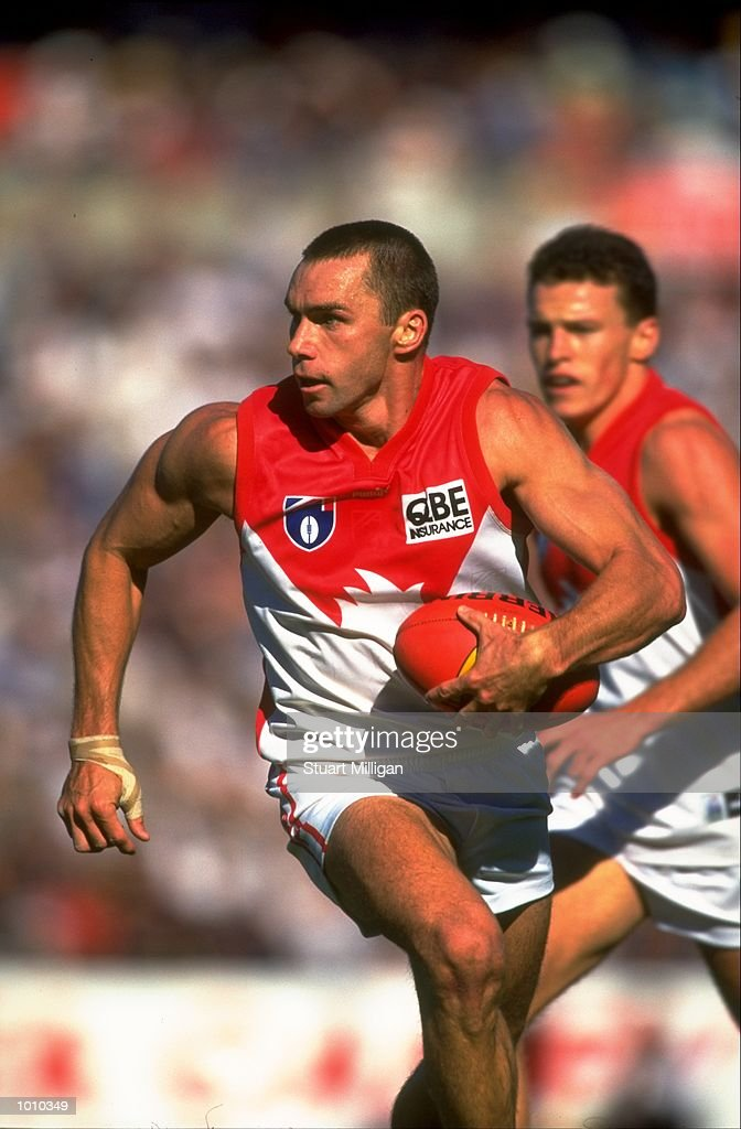 Paul Kelly, Captain of the Sydney Swans in action during the AFL Premiership Round 5 match against the Adelaide Crows at Football Park, Adelaide, Australia. The Anzac Day game finished with the Adelaide Crows (155) defeating the Sydney Swans (74). \ Mandatory Credit: Stuart Milligan /Allsport