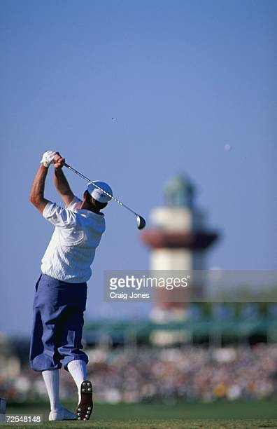 Payne Stewart watches the ball after he swings during the MCI Heritage Classic at the Harbour Town Golf Links in Hilton Head South Carolina