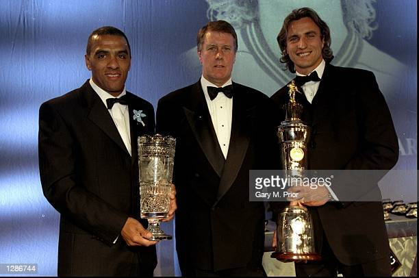 PFA Merit Award winner Tony Ford of Mansfield Geoff Hurst and PFA Player of the Year David Ginola of Tottenham Hotspur at the PFA Awards Ceremony at...