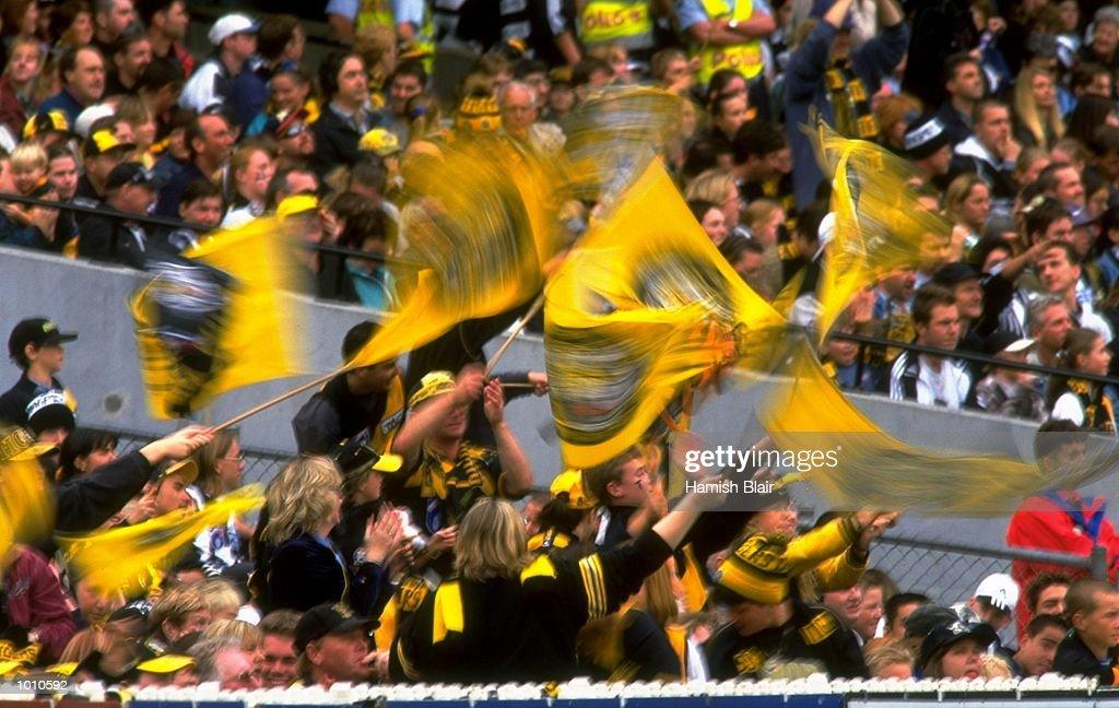 Richmond fans during the 1999 AFL Premiership Round 4 match, where Richmond (146) defeated Collingwood (96) at the MCG, Melbourne, Australia. \ Mandatory Credit: Hamish Blair /Allsport