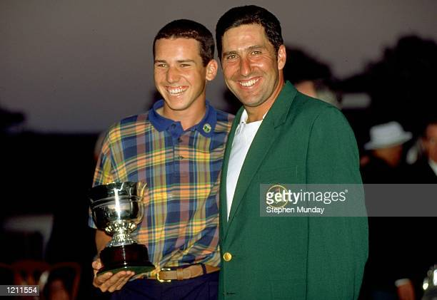Sergio Garcia and Jose Maria Olazabal of Spain celebrates winning their respective prizes after the 1999 US Masters at the Augusta National GC in...