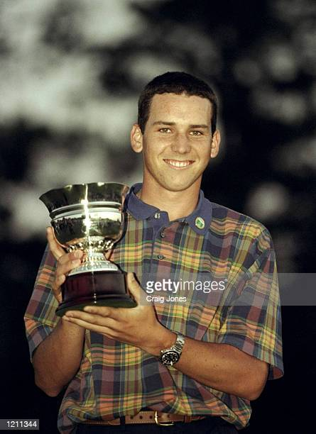 Sergio Garcia of Spain holds the Amateur trophy after winning the Amateur event the 1999 US Masters at the Augusta National GC in Augusta Georgia USA...