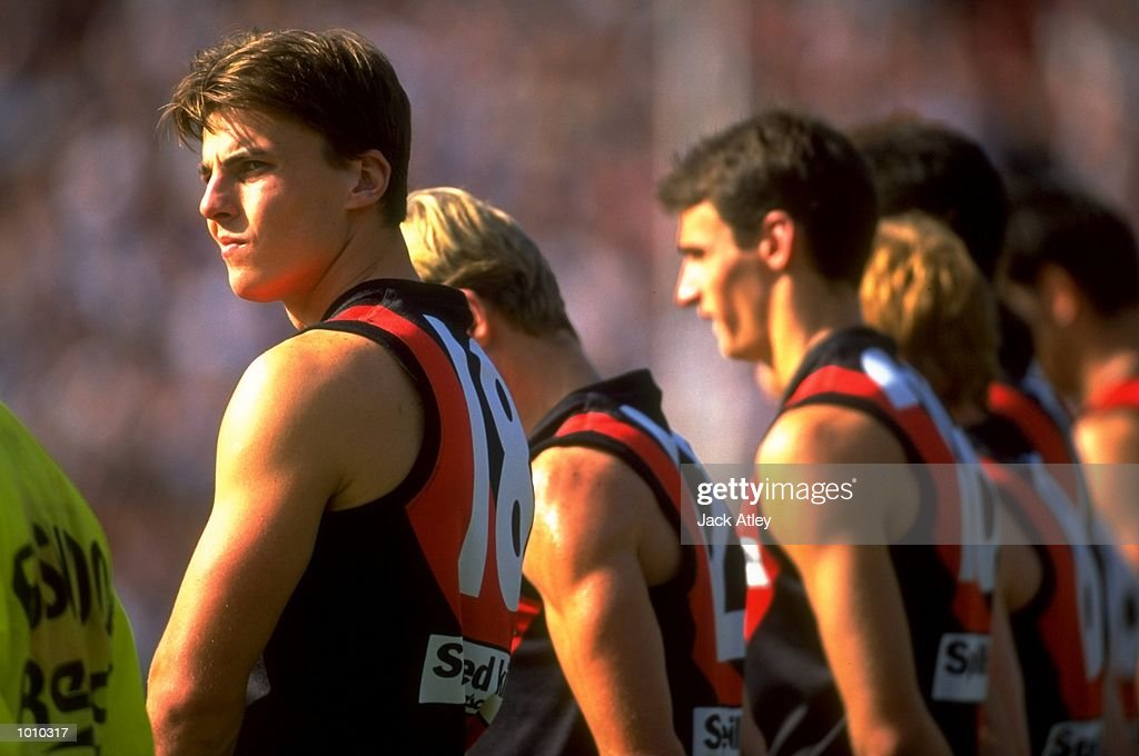 The Essendon Bombers line up proir to the AFL Premiership Round 5 match against the Collingwood Magpies at the MCG, Melbourne, Australia. The Anzac Day game finished with Essendon (108) defeating Collingwood (100). \ Mandatory Credit: JackAtley /Allsport