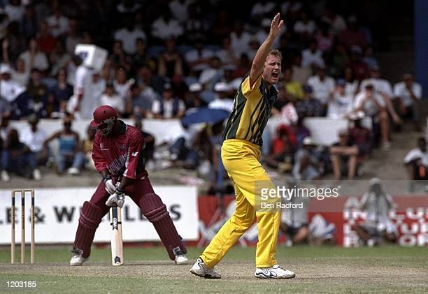 Tom Moody of Australia appeals during the One Day International match against the West Indies played in Barbados Mandatory Credit Ben Radford...