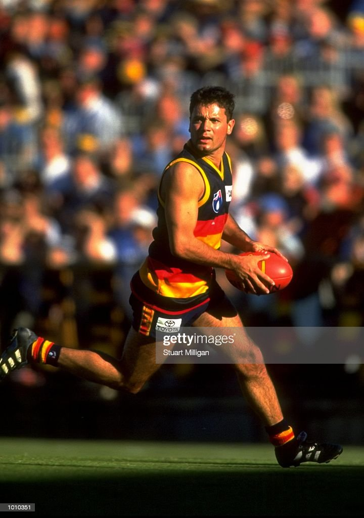 Troy Bond of the Adelaide Crows in action during the AFL Premiership Round 5 match against the Sydney Swans at Football Park, Adelaide, Australia. The Anzac Day game finished with the Adelaide Crows (155) defeating the Sydney Swans (74). \ Mandatory Credit: Stuart Milligan /Allsport
