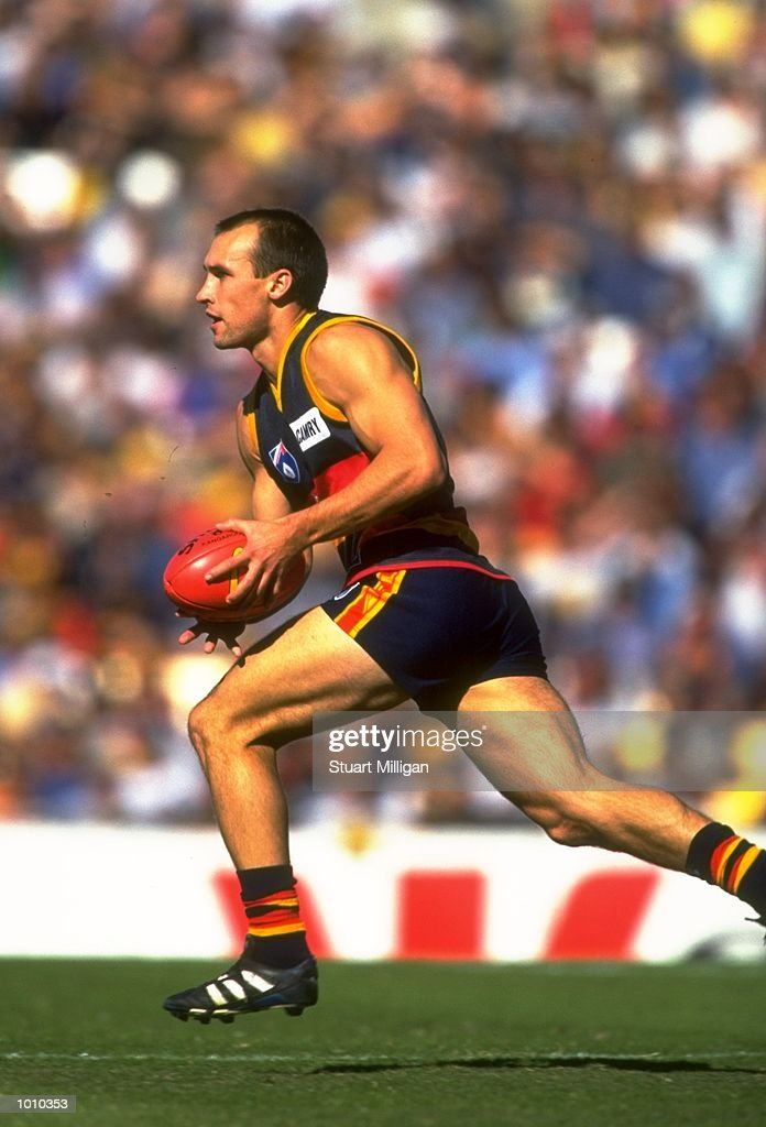 Tyson Edwards of the Adelaide Crows in action during the AFL Premiership Round 5 match against the Sydney Swans at Football Park, Adelaide, Australia. The Anzac Day game finished with the Adelaide Crows (155) defeating the Sydney Swans (74). \ Mandatory Credit: Stuart Milligan /Allsport