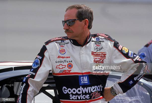 A close up of Dale Earnhardt Sr as he looks on during the NAPA Auto Parts 500 Part of the NASCAR Winston Cup Series at the California Speedway in...