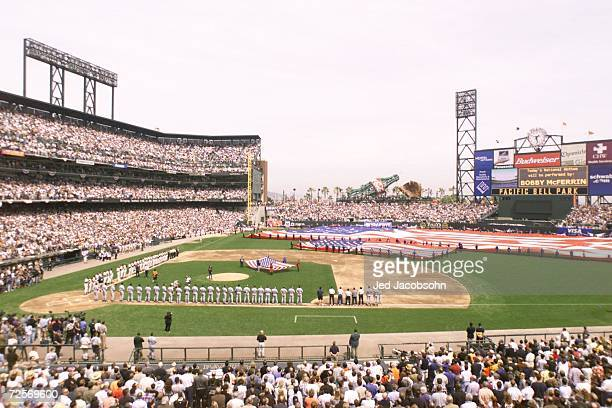 A general view of Pacific Bell Park during opening day between the San Francisco Giants and the Los Angeles Dodgers in San Francisco California...