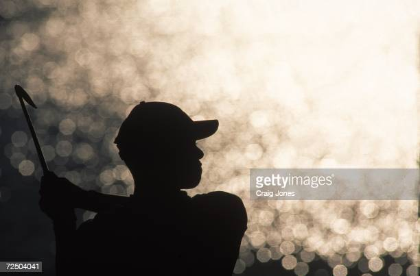 A silhouette of Tiger Woods as he watches the ball after hitting it during the Players Championship TPC at Sawgrass in Point Vedra Beach Florida
