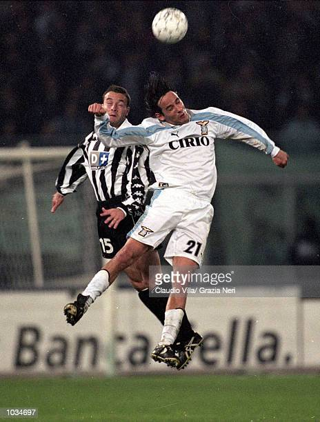 Alessandro Birindelli of Juventus battles with Simone Inzaghi of Lazio during the Italian Serie A match played at the Stadio Delle Alpi in Turin...