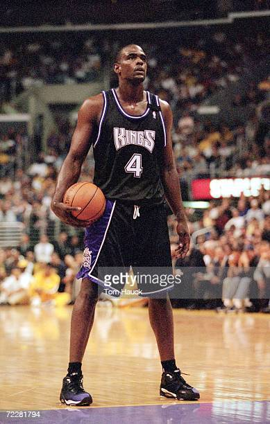 Chris Webber of the Sacramento Kings stands on the court as he looks to make a free throw during the NBA Western Conference Playoffs Round One Game...