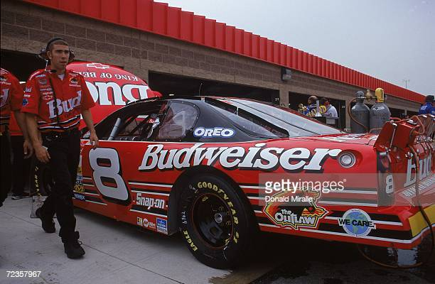 Dale Earnhardt Jr #8 is pulling in for a pit stop during the NAPA Auto Parts 500 Part of the NASCAR Winston Cup Series at the California Speedway in...