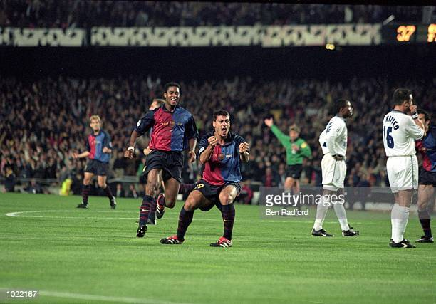 Dani of Barcelona celebrates after scoring in the UEFA Champions League quarterfinal second leg against Chelsea at the Nou Camp in Barcelona Spain...