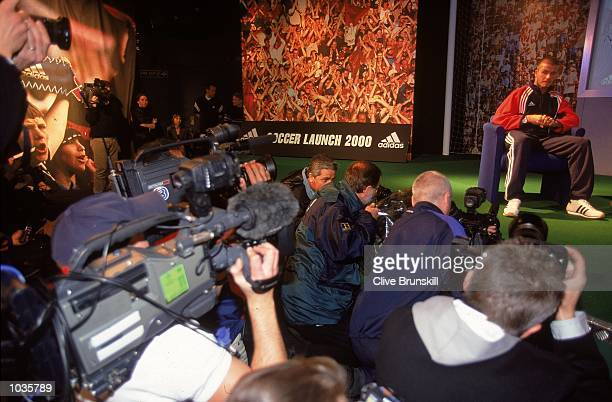 David Beckham appears at the launch of the Adidas Predator Precision boot in Manchester England Mandatory Credit Clive Brunskill /Allsport