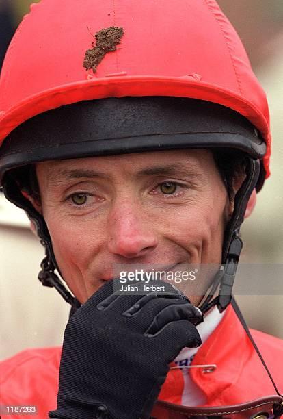 Jockey Walter Swinburn pictured during his last race meeting before retirement at Kempton Park in London Mandatory Credit Julian Herbert /Allsport