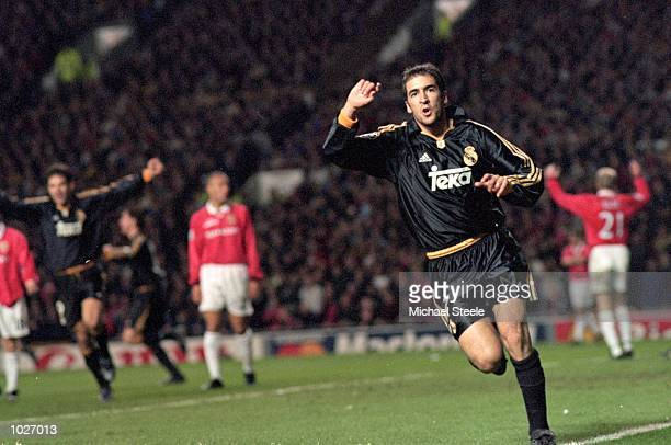 Raul of Real Madrid celebrates his goal during the UEFA Champions League quarterfinal second leg against Manchester United at Old Trafford in...