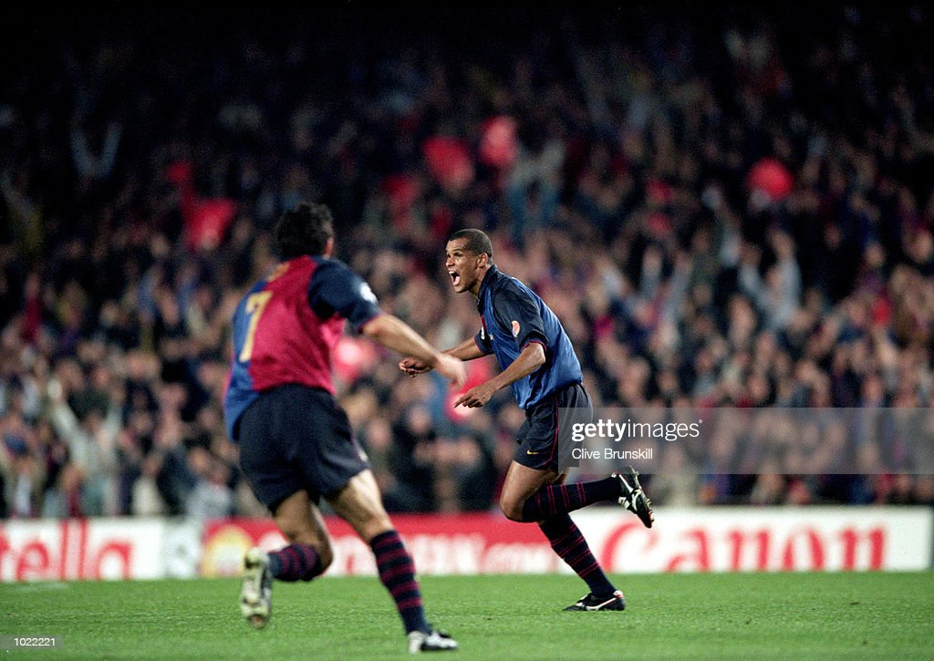 Rivaldo of Barcelona celebrates a goal during the UEFA Champions League quarter-final second leg against Chelsea at the Nou Camp in Barcelona, Spain. Barcelona won the match 5-1. \ Mandatory Credit: Clive Brunskill /Allsport