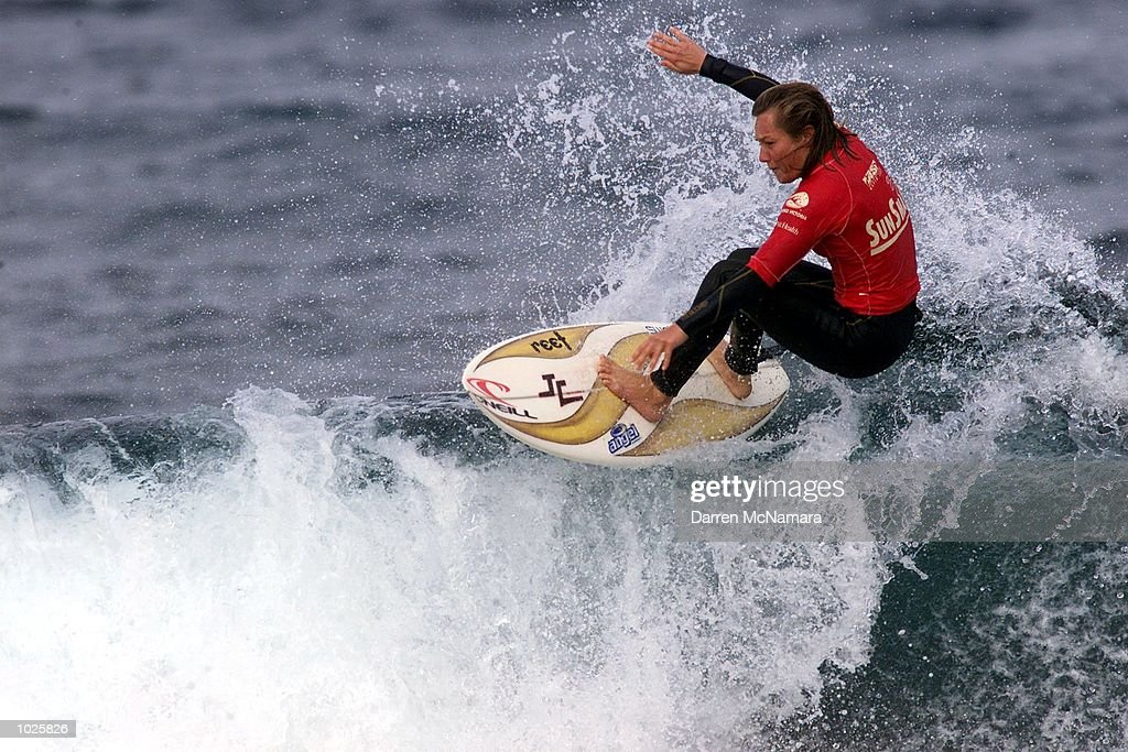 Rochelle Ballard from Hawaii catches a wave during the womens final against Megan Abubo of Hawaii Megan Abubo defeated Rochelle Ballard in the Rip...