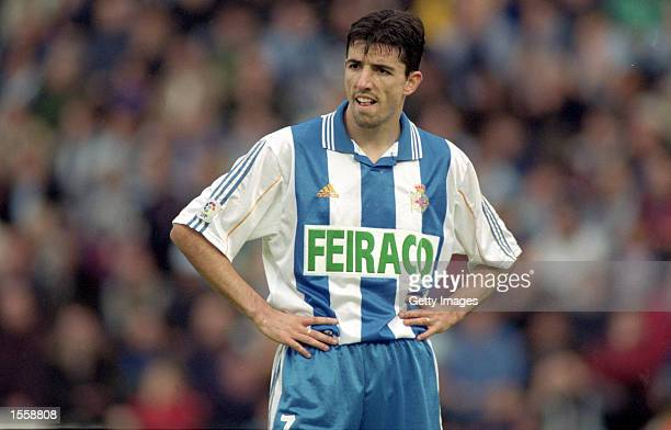 Roy Makaay of Deportivo La Coruna in action during the Spanish Primera Liga match against Celta Vigo at the Estadio Balaidos Vigo Spain Photo by Nuno...