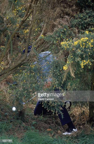 Sergio Garcia of Spain and Continental Europe in trouble during the inagural Eurobet Seve Ballesteros Trophy between Continental Europe v Great...