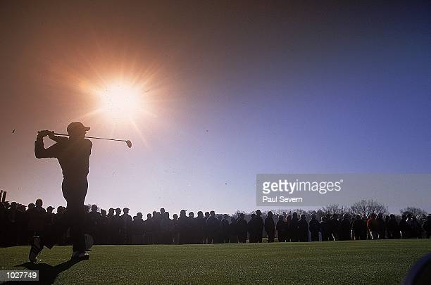 Sergio Garcia of Spain and Continental Europe team has an early start during the inagural Eurobet Seve Ballesteros Trophy between Continental Europe...