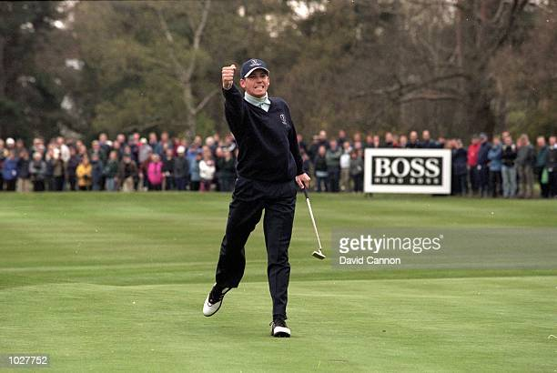 Sergio Garcia of Spain and Continental Europe team holes a crucial putt on Hole 18 to halve his match with Darren Clarke of Great Britain during the...