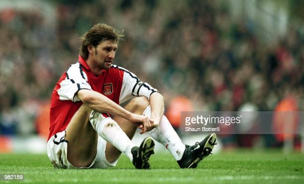 A dejected Tony Adams of Arsenal after another Middlesbrough goal during the FA Carling Premiership match between Arsenal v Middlesbrough at Highbury...