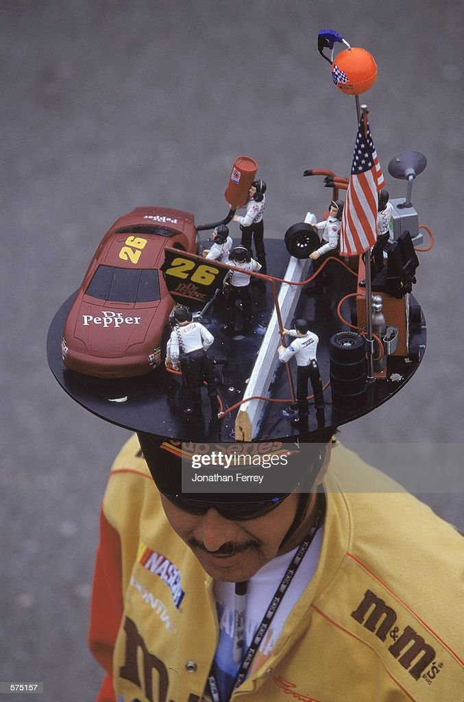A general view of a fan of the NASCAR Racing circuit wearing his NASCAR hat during the Napa 500, part of the NASCAR Winston Cup Series at the California Speedway in Fontana, California.Mandatory Credit: Jon Ferrey /Allsport