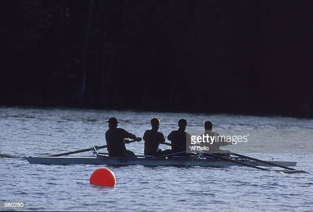 A general view of rowers in practice before the Zurick Rowing World Cup in Princeton New JerseyMandatory Credit Al Bello /Allsport