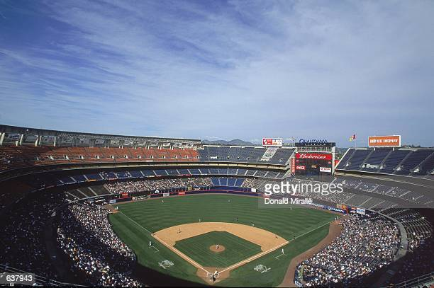 A general view of the diamond taken during the game between the Colorado Rockies and the San Diego Padres at Qualcomm Park in San Diego California...