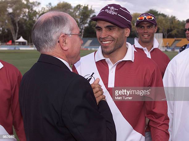 Anthony Mundine with Prime Minister John Howard after the Prime Ministers 11 v ATSIC Chairmans 11 cricket match being held at the Manuka Oval...