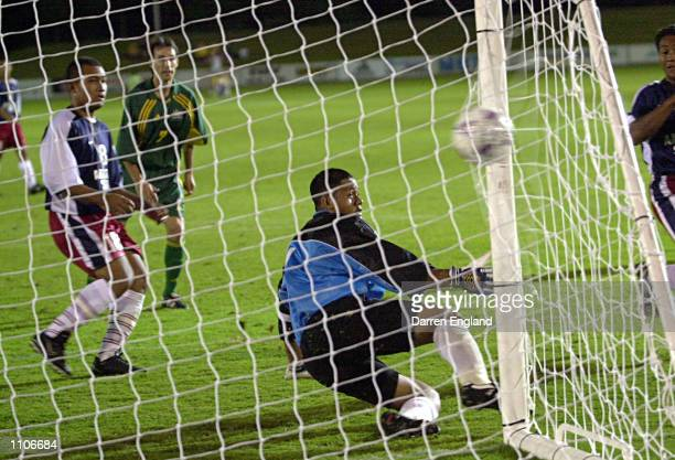 Aurelio Vidmar of the Socceroos gets a goal past Nicky Salapu of American Samoa during the Oceania group one World Cup qualifier match between...