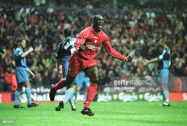 Emile Heskey of Liverpool celebrates scoring during the AXA FA Cup Semi Final between Liverpool and Wycombe Wanderers at Villa Park Birmingham...