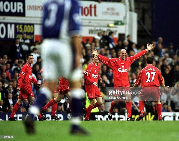 Gary McAllister of Liverpool celebrates after scoring the winning goal during the Everton v Liverpool FA Carling Premiership match at Goodison Park...