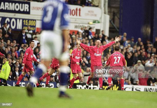 Gary McAllister of Liverpool celebrates his dramatic last minute goal during the FA Carling Premiership match against Everton played at Goodison Park...