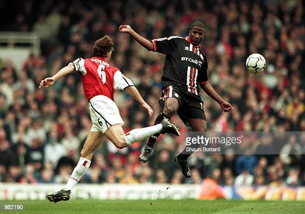 Hamilton Ricard of Middlesbrough and Tony Adams of Arsenal in action during the FA Carling Premiership match between Arsenal v Middlesbrough at...