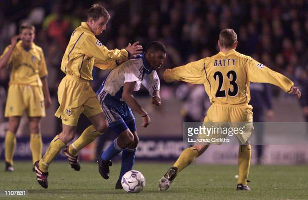 17 Apr 2001 Lee Bowyer of Leeds battles for the ball with Djalminha of Deportivo La Coruna during the 2nd leg of the UEFA Champions league quarter...