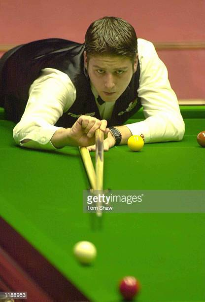 Matthew Stevens of Wales plays a shot in his second round match against Anthony Hamilton of England during the Embassy World Championship Snooker...