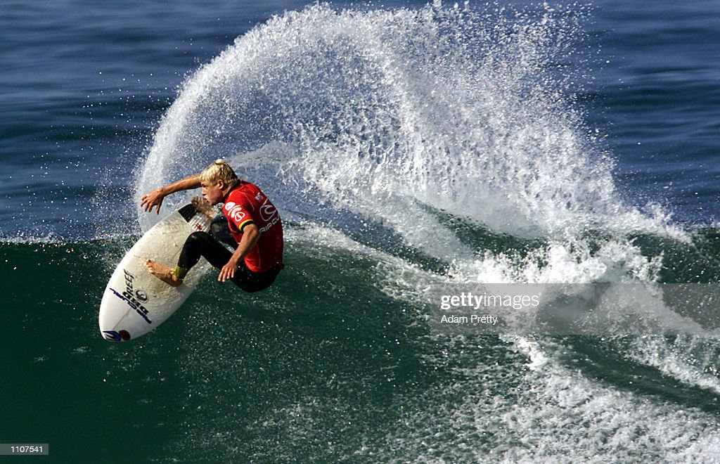 Mick Fanning of Australia in action on his way to defeating Danny Wills of Australia in the final of the Rip Curl Pro Surfing Contest Bells Beach...