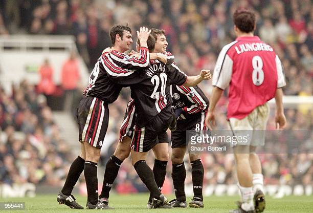 Middlesbrough celebrate their first goal during the FA Carling Premiership match against Arsenal at Highbury in London Arsenal lost 30 to hand the...