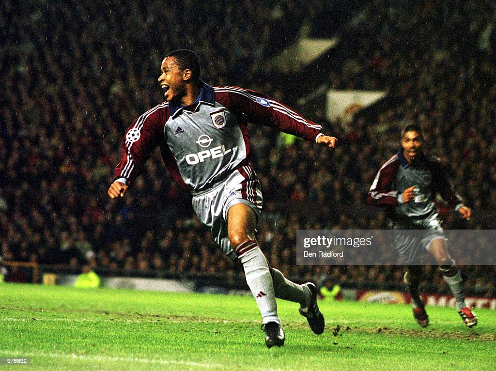 Paulo Sergio of Munich celebrates scoring during the match between Manchester United and Bayern Munich in the Champions League Quarter Final first...