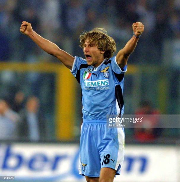 Pavel Nedved of Lazio celebrates after scoring during the Serie A 28th Round League match between Roma and Lazio played at the Olympic Stadium Rome...