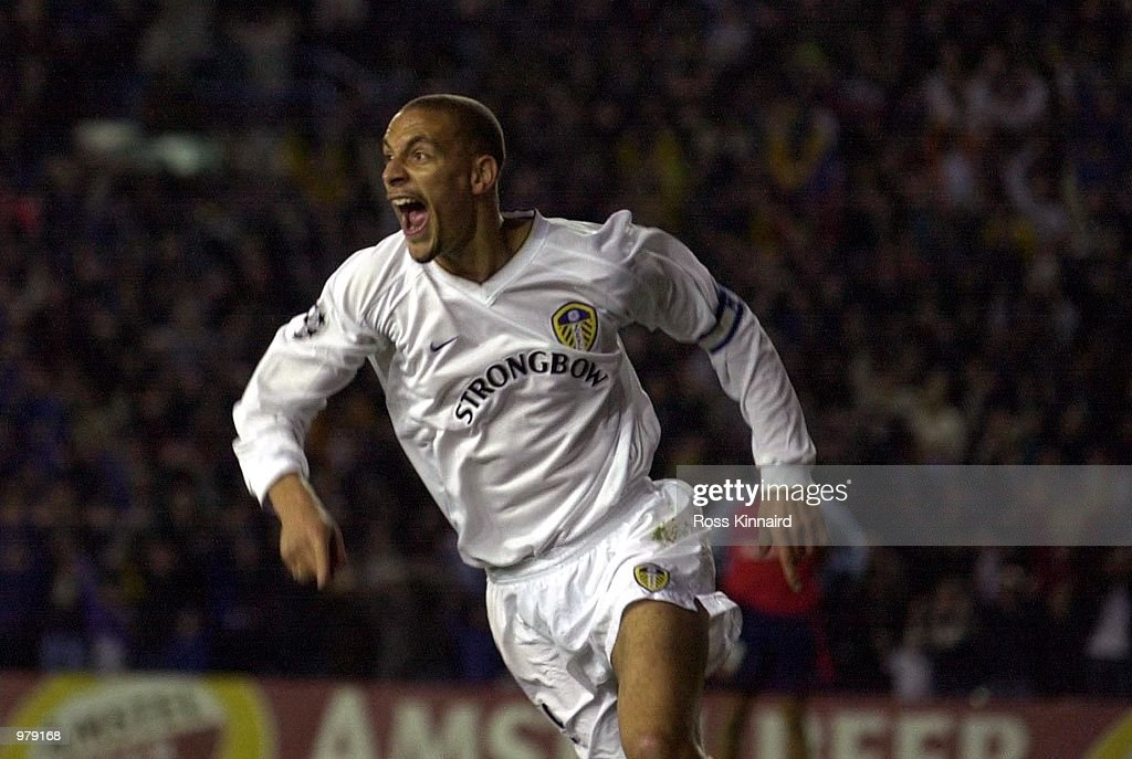 Rio Ferdinand of Leeds celebrates scoring during the match between Leeds United and Deportivo La Coruna in the UEFA Champions League Quarter Final...