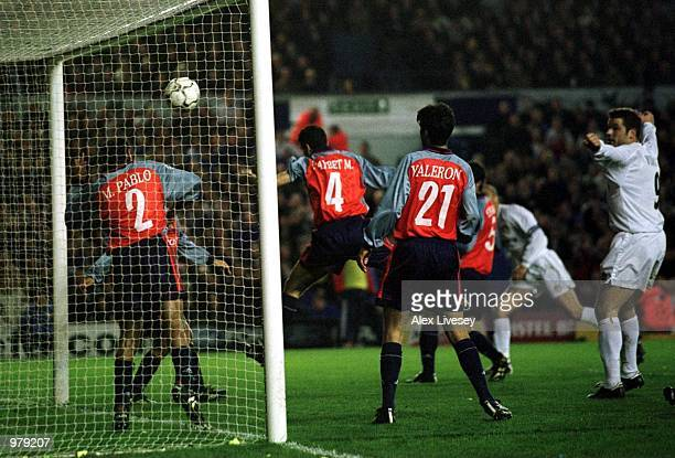 Rio Ferdinand of Leeds scores during the match between Leeds United and Deportivo La Coruna in the UEFA Champions League Quarter Final First Leg at...