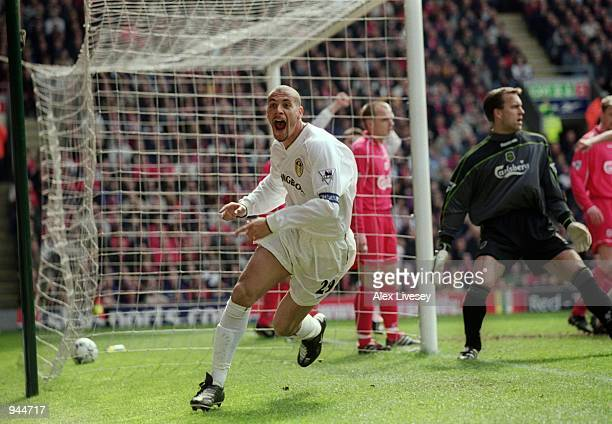 Rio Ferdinand of Leeds United celebrates opening the scoring during the FA Carling Premiership match against Liverpool played at Anfield in Liverpool...