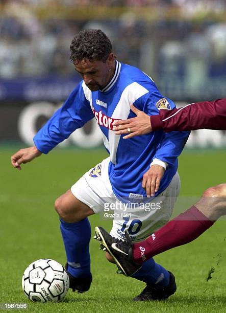 Roberto Baggio of Brescia in action during the Serie A 25th Round League match between Brescia and Reggina played at the Mario Rigamonti Stadium...